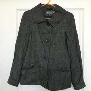 Oversized black checked jacket with large collar